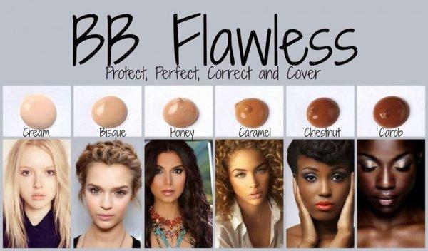 Teintes de la BB crème Flawless